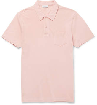 Sunspel Riviera Slim-Fit Cotton-Mesh Polo Shirt - Pink
