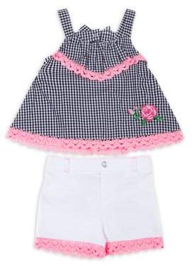 Little Lass Little Girl's Two-Piece Lace-Trim Cotton Gingham Top and Shorts Set