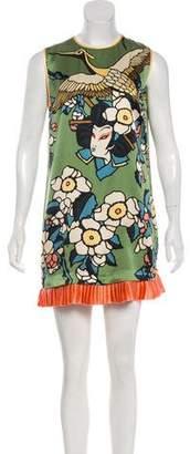 DSQUARED2 Silk Graphic Print Dress