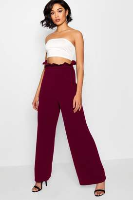 boohoo High Waist Crepe Wide Leg Paperbag Trouser