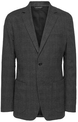 Banana Republic Slim Grey Plaid Stretch-Cotton Blazer