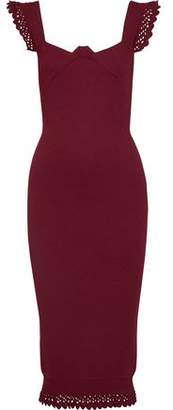 Roland Mouret Hotham Scalloped Stretch-Knit Midi Dress