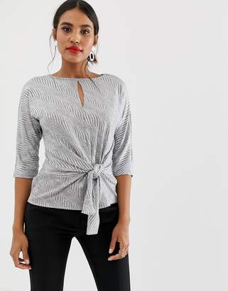 Oasis blouse with knot front in silver