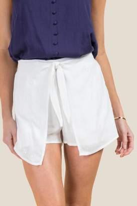 francesca's Analise Eyelet Shorts - White