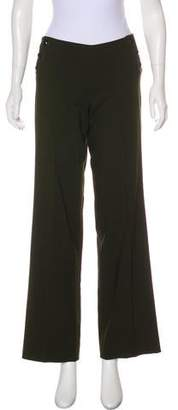 Milly Wool Mid-Rise Wide-Leg Pants