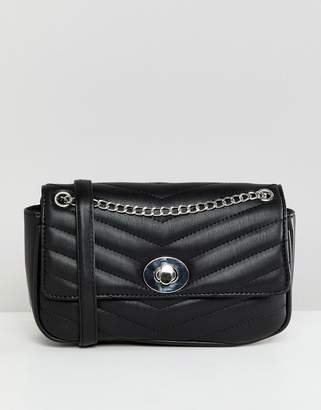 Stradivarius quilted chain cross body bag in black