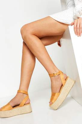 boohoo Two Part Flatform Espadrille Sandals