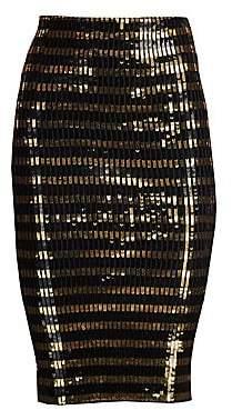 Ralph Lauren Women's Sequin Striped Pencil Skirt