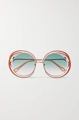 Chloé Carlina Oversized Round-frame Gold-tone Sunglasses - Blue