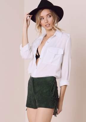 Missy Empire Missyempire Zandie Khaki Suede Side Tassel Detail Shorts