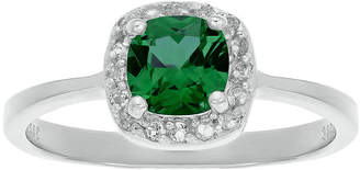 FINE JEWELRY Cushion-Cut Lab-Created Emerald and Genuine White Topaz Sterling Silver Ring