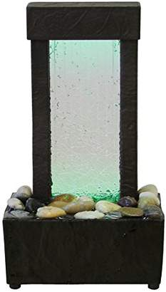 Natures Mark Cracked Glass Color Changing LED Relaxation Water Fountain Authentic River Rocks