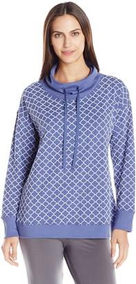 Carole Hochman Women's French Terry Cowl Neck Top with Flocking