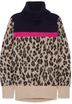 Sacai Leopard-intarsia Knitted Sweater - Beige