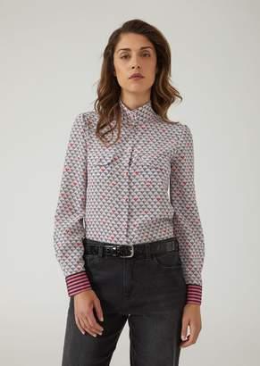 Emporio Armani Silk Crepe De Chine Shirt With All-Over Logo Pattern