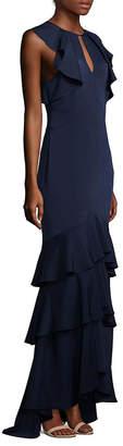 Shoshanna Ruffled Tiered Hem Formal Gown