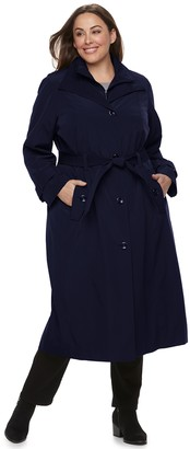 London Fog Tower By Plus Size TOWER by Belted Trench Coat