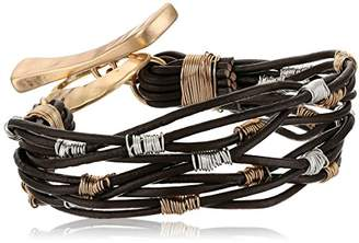 Robert Lee Morris Women's Bound to Basics Wire Wrapped Leather Cord Bracelet