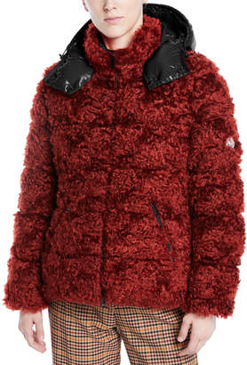 Moncler Badyp Mohair-Blend Puffer Jacket w/ Contrast Hood
