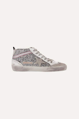 Golden Goose Mid Star Glittered Distressed Leather And Suede Sneakers - Silver