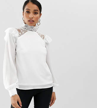 Fashion Union Petite high neck long sleeve top with lace detail