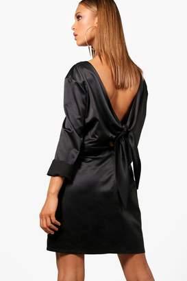 boohoo Oversized Tie Back Shift Dress