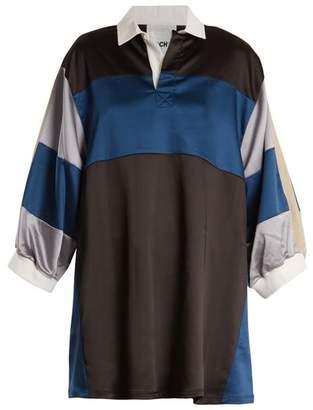 Koché Koche - Contrast Panel Satin Dress - Womens - Blue Multi