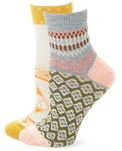 Free People Set of Two Double Trouble Crew Socks
