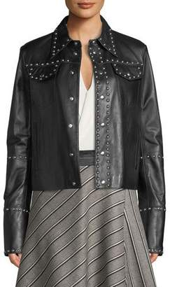 Helmut Lang Studded Snap-Front Leather Moto Jacket