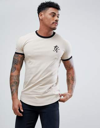 Gym King Logo Muscle Fit Ringer T-Shirt In Beige