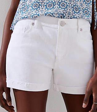 LOFT Denim Roll Shorts in White