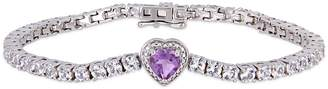 Concerto Sterling Silver, Amethyst White Sapphire Stationed Heart Bracelet