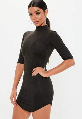 Missguided Black High Neck Short Sleeve Faux Suede Mini Dress