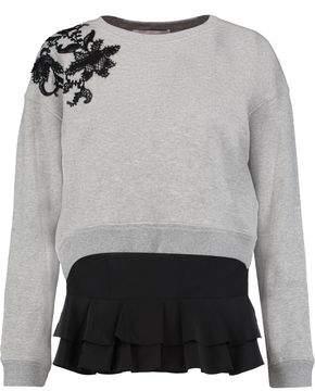 Derek Lam 10 Crosby Lace-Paneled Cotton-Jersey Sweatshirt And Silk Top Set