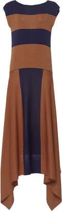 Asymmetric Striped Silk-Jersey Maxi Dress