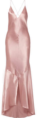 Michael Lo Sordo Asymmetric Silk-satin Maxi Dress - Blush