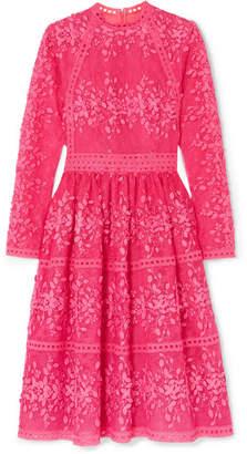 bd279eb63edc Costarellos Lace-trimmed Embroidered Tulle Dress - Fuchsia