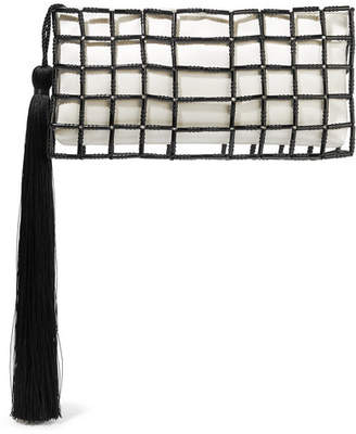 Carolina Santo Domingo - Stella Tasseled Beaded Satin Clutch - White