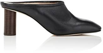 Helmut Lang Women's Leather Square-Toe Mules $565 thestylecure.com