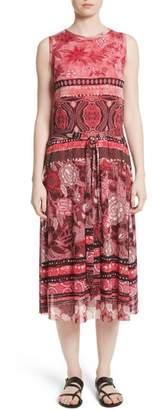 Fuzzi Print Tulle Midi Dress