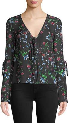 Milly Maggie V-Neck Long-Sleeve Wildflower-Print Silk Georgette Top