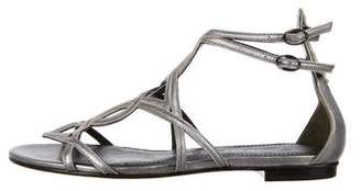 Pierre Balmain Metallic Ankle-Strap Sandals