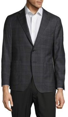 Classic Fit Plaid Wool Jacket