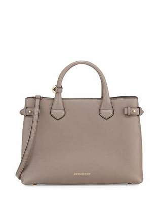 Burberry Banner Medium House Check Derby Tote Bag, Thistle Gray