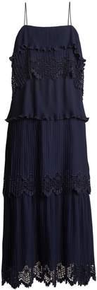 Self-Portrait Tiered pleated crepe midi dress