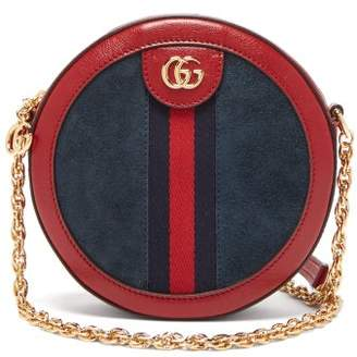 Gucci Ophidia Leather And Suede Cross Body Bag - Womens - Red Navy