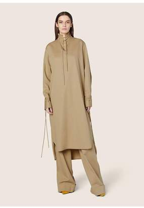 Derek Lam Long Sleeve Mandarin Collar Shirtdress With Ties