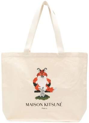 MAISON KITSUNÉ Pixel logo shopper tote