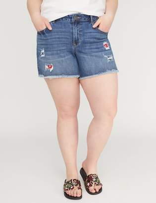 Lane Bryant Girlfriend Denim Short - Bandana-Backed Destruction