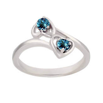 FINE JEWELRY Genuine Blue Topaz Sterling Silver Two Heart Ring